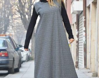 Plus Size Maxi Dress, Shepherd's Plaid Hooded Dress, Maxi Kaftan, Asymmetric Long Sleeves Dress by SSDfashion