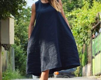 Short Dark Blue Maxi Dress, Oversize Tunic Top, Plus Size Casual Dress, Asymmetric Summer Top by SSDfashion