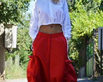 Loose Neoprene Red Pants, Extravagant Drop Crotch Pants, Large Pokets Maxi Pants, Plus Size Trousers by SSDfashion