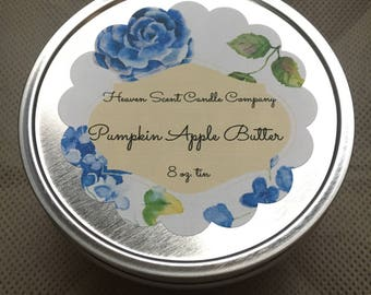 Pumpkin Apple Butter hand-poured soy wax candle in 8oz tin