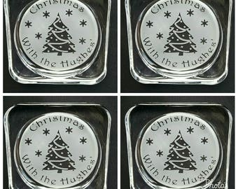 Set of 4 Engraved Family Christmas Coasters - New - Personalised with Family Name - Handmade - Glass