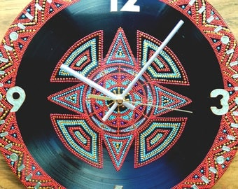 Vinyl Clock Hand Painted Clock Record Clock Dot Painting Wall Clock Unique Clock Home Decor Round Clock Kitchen Clock Art Clock Floral Clock