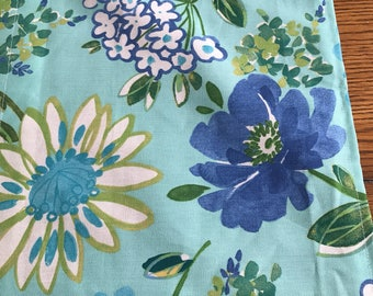 Aqua and Royal blue flower  table runner