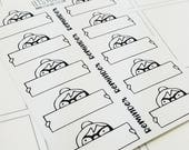 Cora - peek a boo labels | mini monochrome character / action | Planner stickers (#CORA2)