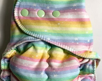 Pastel Stripes and Stars WUB Fitted Diaper-Discounted