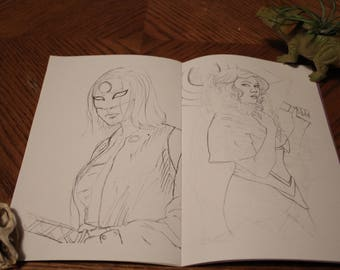 Horror & Heroes| Black and White Portrait Sketch Art Collection Book Zine