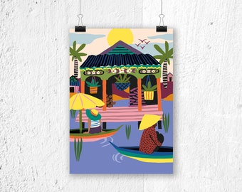 Poster Water Villages Cambodia - A3 print A4 poster - culture poster - poster Cambodja - Cambodja poster - poster Asia - poster river print