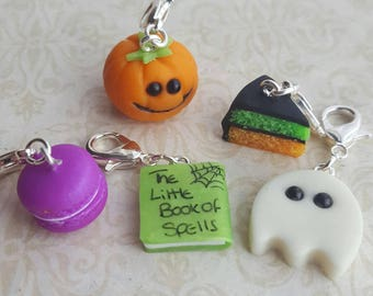 Halloween stitch markers for knitting,  novelty  stitch markers, pumpkin, ghost and cake knitting accessory