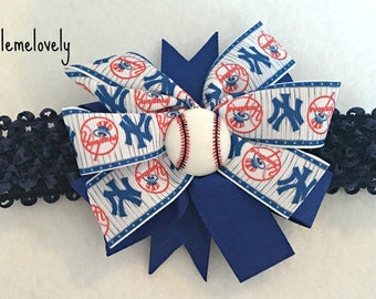 New York Yankees Baby Girl Boutique Bow Crocheted Headband