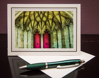 Winchester Cathedral GC-Greeting Card-Note Card-Travel-Home Office Decor-Matted Art Print-Gift-Photo-Art-Architecture-Church-Red Doors-UK