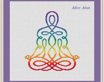 Cross Stitch Pattern Silhouette man Yoga Chakras Rainbow Counted Cross Stitch Pattern / Instant Download Epattern PDF File