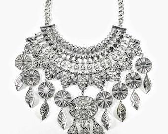 Zanita - Silver & Crystal Statement Necklace