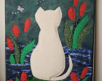 Handmade Fiber Art / Cat Watching Dragonflies Tapestry / Quilted Tapestry / Mix Media Wall Art/Quilt Art