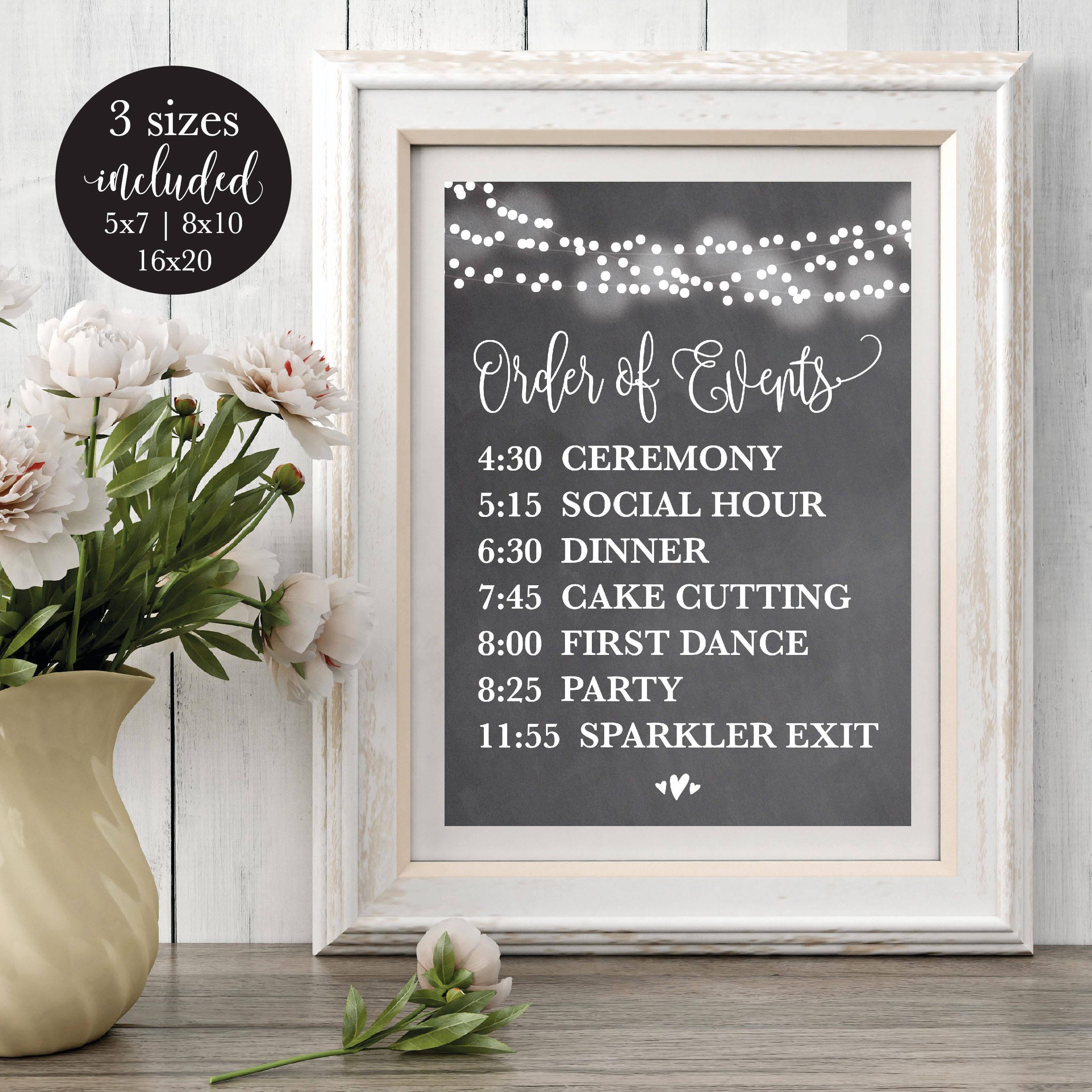 Chalk Order Of Events Editable Wedding Sign Printable Wedding