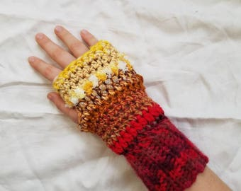 Red Multicolored Crochet Fingerless Gloves, Fingerless Gloves, Crochet Fingerless Gloves, Handmade Gloves, Women's Fingerless Gloves