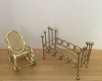 Dollhouse furniture vintage metal gold tone rocker and crib