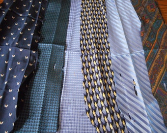Blue Silk Ties for Quilts or Crafts