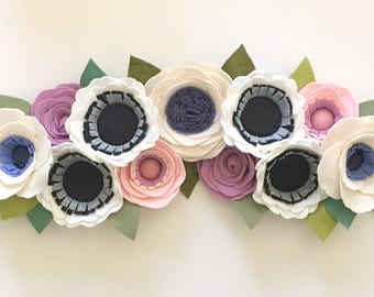 FELT FLOWER SWAG // Floral Swag // Floral Arch // Flower Wall Arch // Floral Wall Hanging // Felt Flower Decor // You Pick Custom Colors