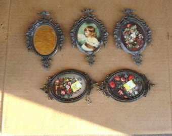 vintage mirror frames,small oval frames lot,made in italy frames