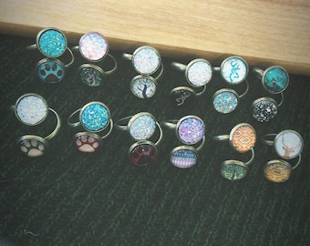 12pc Bronze Wrap Rings - Assorted Adjustable