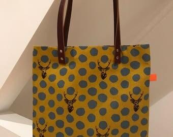 mustard yellow deer tote bag