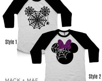 Halloween Disney Shirts, Mickey OR Minnie Castle Raglan Tees, Disney World, Matching Family Shirts, Infant Toddler Kids Men's Women's