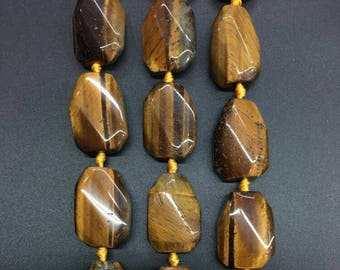 Approx 12pcs,Natural Tiger eye Slab Nuggets beads pendant,Raw yellow Tiger eye smooth slice necklace Jewelry Supplies 20x30mm