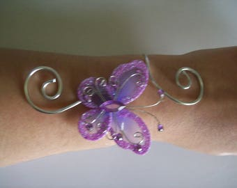 Bridal bracelet wedding party holiday ceremony violet lilac Purple Butterfly Silver Aluminum wire
