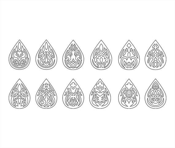 Faux Leather Earrings Set Ornament Teardrop Pendant Laser