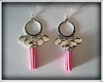 Earrings drop silver _ tassel