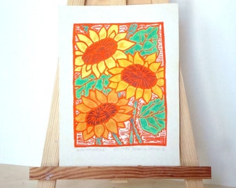 SUNFLOWERS Print - 4x5.5. Colored. Orange Ink. Linoleum Prints Wall Art Flower Art Hand Printed Linocut Flower Print Block Prints Handmade