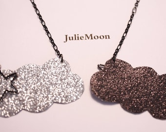 Necklace cloud glitter silver and black