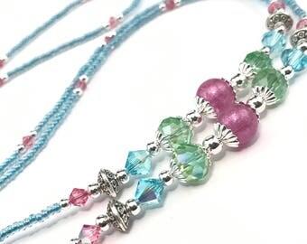 Beaded Eyeglass Chain/Holder-Turquoise Blue/Purple/Green~ Swarovski Crystal