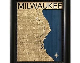 Milwaukee Wood Engraved 2D City Map - 18x24 - Laser Cut Map Decor
