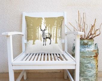 Deer Decorative Pillow, Deer Square Pillow, Woodland Decor, Deer Throw Pillow, Nature Art Pillow, Square Cushion, Living Room Decor