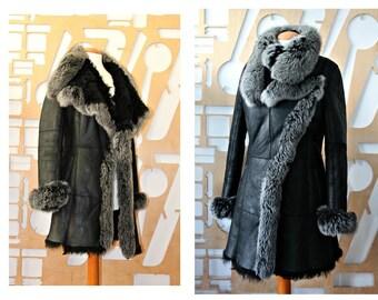 Shearling coat Fur coat Sheepskin coat Long coat Fur collar coat Lamb coat Winter coat Large collar coat Suede coat Leather Boho Hippie Goth