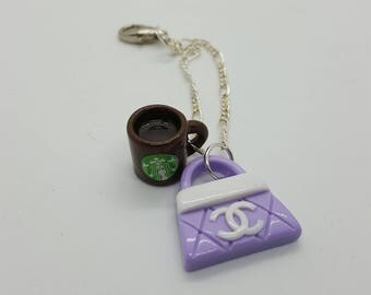Fashion purse and coffee cup planner charm (PCH004)
