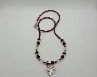 Rhinestone heart necklace (NK005)