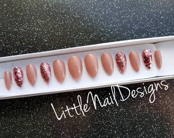 Hand Painted Metallic Rose Gold Glitter False Nails | Little Nail Designs