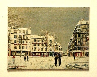 Signed 60's Vintage Maurice Utrillo Print of Paris in Winter 10'' x 8'' x 1/4''