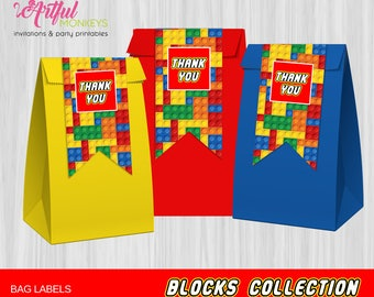 Instant Download Printable Building Blocks Party Bag Labels