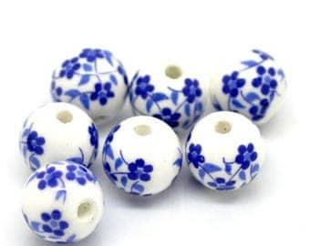 4 flowers 12mm Blue ceramic beads