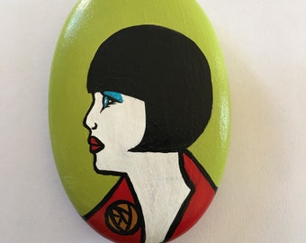 1920's Flapper Pendant. Lady, vintage, art deco, flapper, handmade, unique, ooak, necklace, hand-painted, made in Scotland, Scottish.