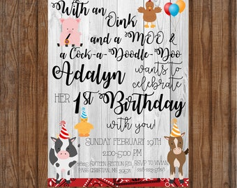 Little Girls Farm Invitation Animals Red Grey Black