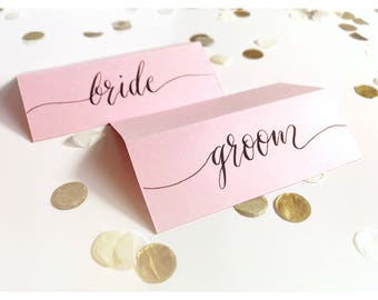 Pink name cards, calligraphy, wedding, table decor