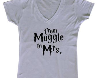 ON SALE - From Muggle to Mrs. - Ladies' V-Neck weding party shirt