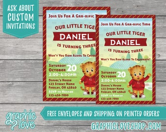 Personalized Daniel Tiger's Neighborhood Inspired Birthday Invitations | Any Age, 4x6 or 5x7, Digital or Printed