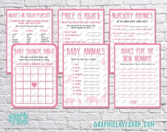 Printable Set of 6 Pink Baby Girl Shower Games & Advice for Mom Card | PDF, Instant Download, Ready to Print, Files NOT Editable