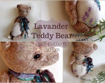 PDF Pattern Teddy Bear Lavander Lover 30 cm/11,8 inches, instant download