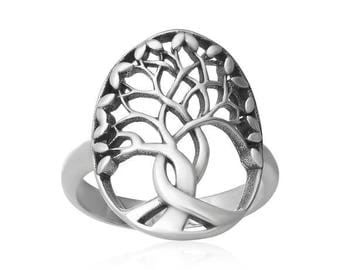 Tree of Life Ring Sterling silver High polish Rhodium plated